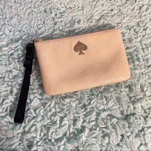 Kate Spade Beige Wristlet with Striped lining EUC